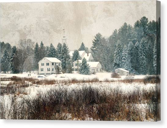 A New England Village In Winter- Antique - Textured Canvas Print