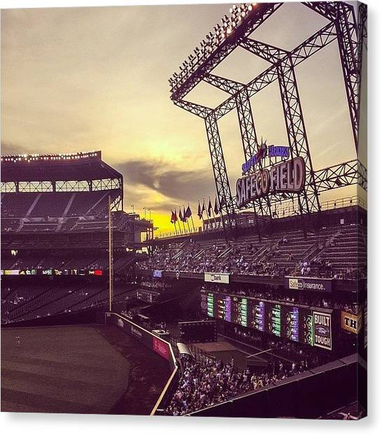 Seattle Mariners Canvas Print - A Nice Shot Of The #sunset Over At by Derek Kiel