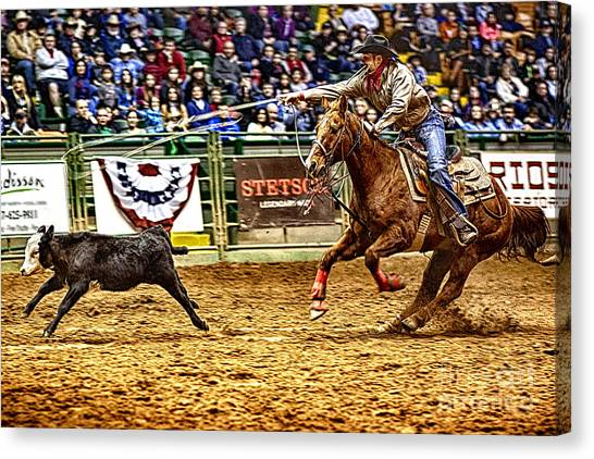 Rodeo Clown Canvas Print - A Night At The Rodeo V10 by Douglas Barnard