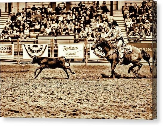 Rodeo Clown Canvas Print - A Night At The Rodeo V11 by Douglas Barnard