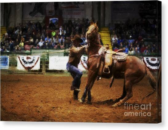 Rodeo Clown Canvas Print - A Night At The Rodeo V13 by Douglas Barnard