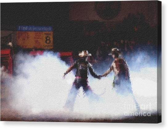 Rodeo Clown Canvas Print - A Night At The Rodeo V3 by Douglas Barnard