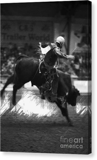 Rodeo Clown Canvas Print - A Night At The Rodeo V4 by Douglas Barnard