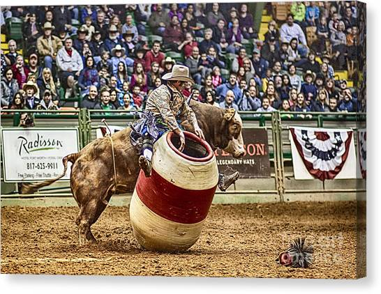 Rodeo Clown Canvas Print - A Night At The Rodeo V9 by Douglas Barnard