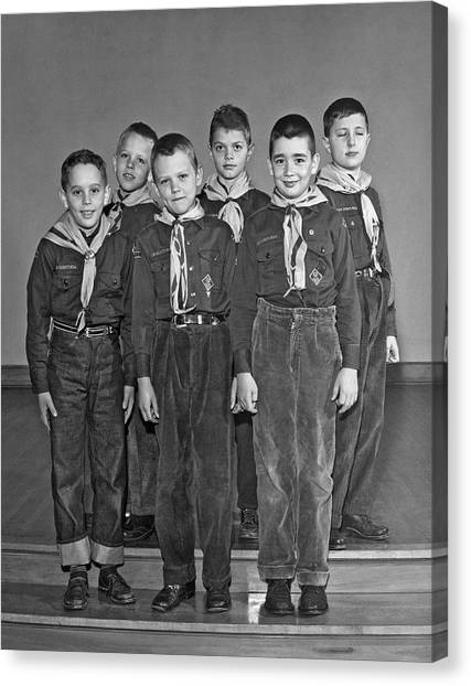 Scouting Canvas Print - A Pack Of Cub Scouts by Underwood Archives