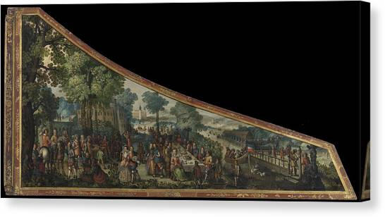 Harpsichords Canvas Print - A Painting On A Harpsichord Lid With A Party By A River by Litz Collection