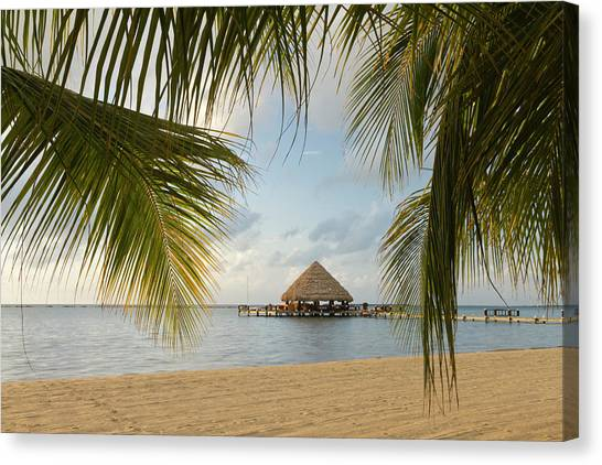 Belize Canvas Print - A Palapa And Sandy Beach, Placencia by William Sutton
