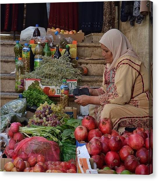 Palestinian Canvas Print - A #palestinian Woman Selling Her Goods by Martin Rix