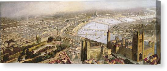 Westminster Abbey Canvas Print - A Panoramic View Of London by English School