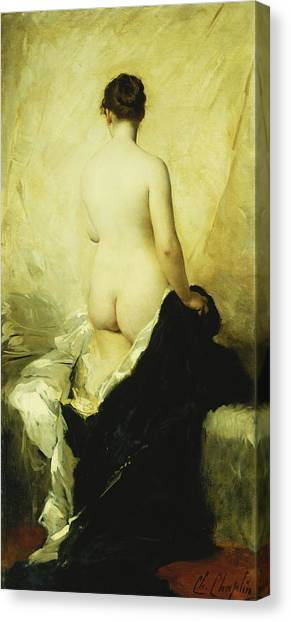 Academic Art Canvas Print - A Partially Draped Nude by Charles Chaplin