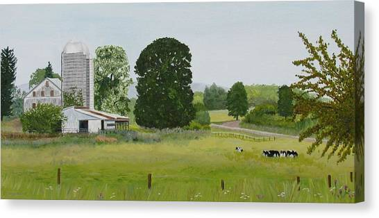 And In Her Harmony Of Varied Greens Canvas Print