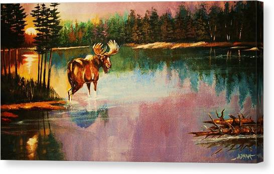 A Pause Before Crossing Canvas Print