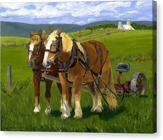 A Pause In The Mowing Canvas Print