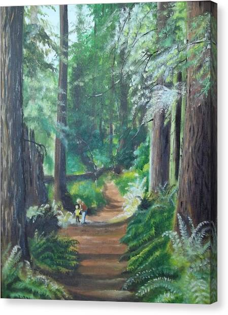 A Peaceful Walk In The Redwoods Canvas Print by Terry Godinez