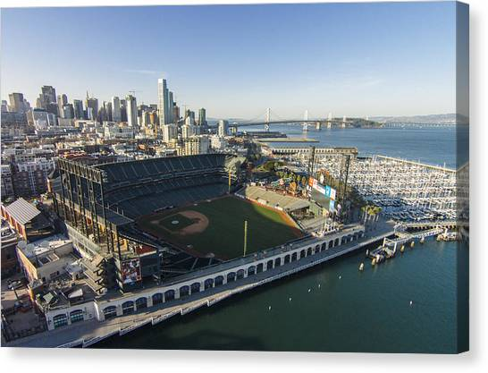 San Francisco Giants Canvas Print - A Perfect Day On The Bay by David Levy