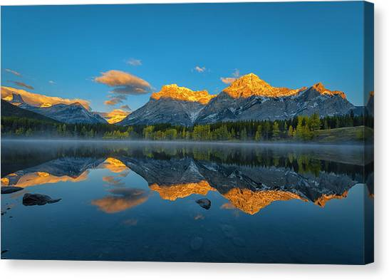 Mountain Ranges Canvas Print - A Perfect Morning In Canadian Rockies by Michael Zheng