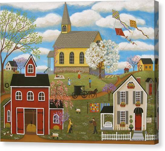 Amish Canvas Print - A Picture Perfect Day by Mary Charles