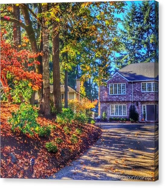 Autumn Leaves Canvas Print - A Picture Perfect Fall Day In Oregon by Anna Porter