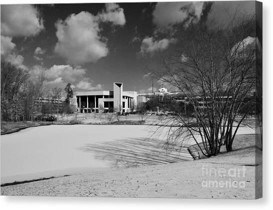 George Mason University Mason Canvas Print - A Picturesque Landscape- B/w by Melissa Thayer