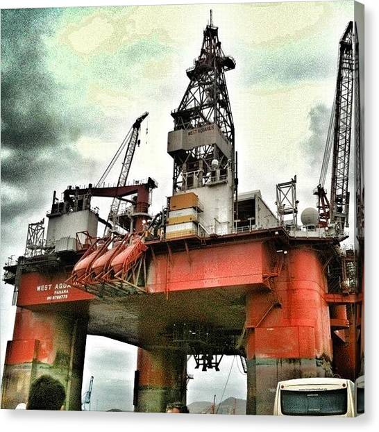 Oil Rigs Canvas Print - A Pie De Plataforma by Manuel M Almeida