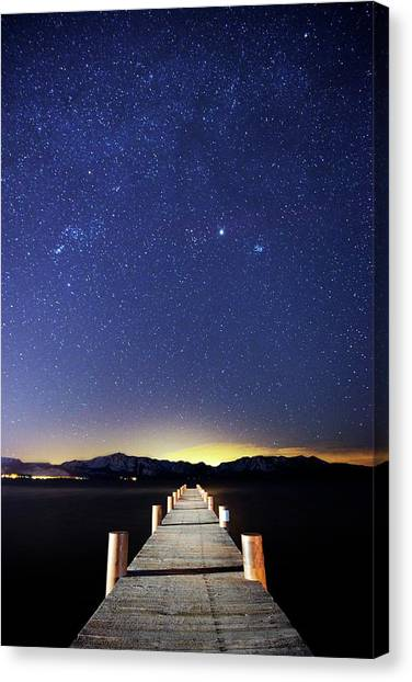 A Pier On The East Shore Of Lake Tahoe Canvas Print