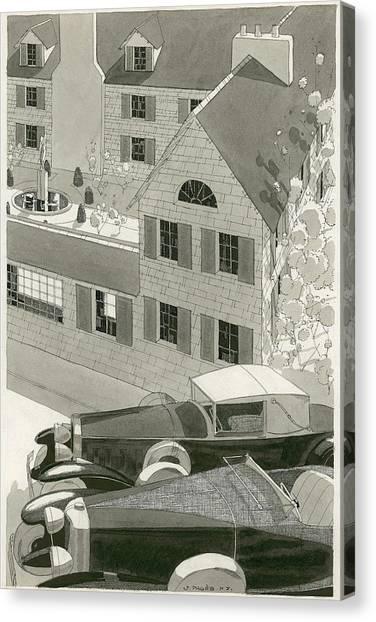 A Pierce Arrow Coupe And A Duesenberg Sports Canvas Print