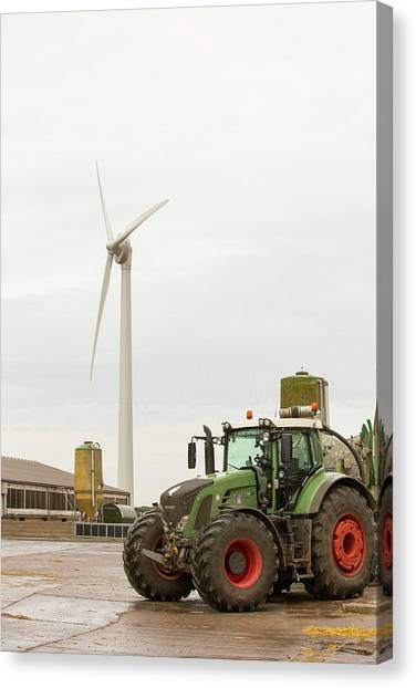 Pig Farms Canvas Print - A Pig Farm Powered By A Wind Turbine by Ashley Cooper