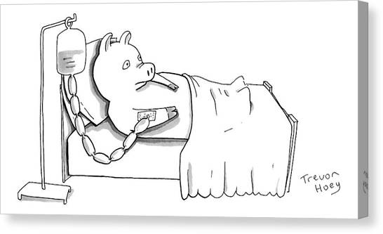 Pig Farms Canvas Print - A Pig Is Hooked Up To An Iv Shaped Like Sausages by Trevor Hoey