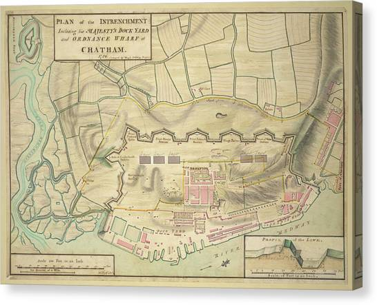 Chatham Canvas Print - A Plan Of Chatham by British Library
