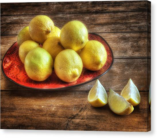 Fashion Plate Canvas Print - A Plate Of Lemons In The Kitchen by Wendy Thompson