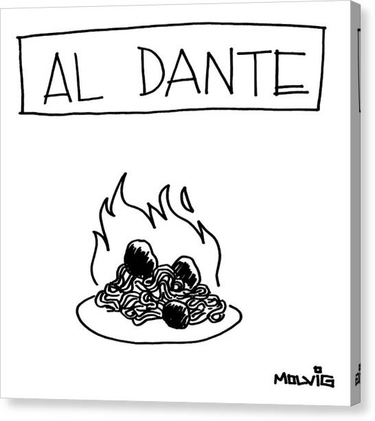 Spaghetti Canvas Print - A Plate Of Spaghetti And Meatballs Is Burning by Ariel Molvig