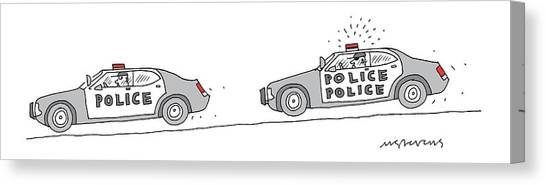 Police Car Canvas Print - A Police Car Being Chased By A Police Police Car by Mick Stevens