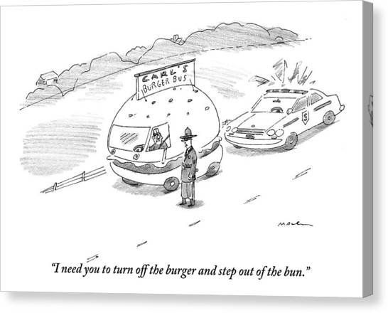 Hamburger Canvas Print - A Policeman Has Pulled Over A Man Driving A Car by Michael Maslin