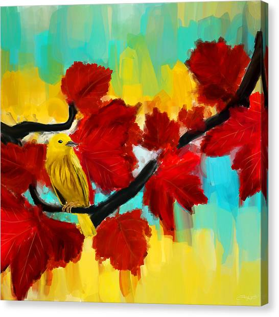 Warbler Canvas Print - A Ponder by Lourry Legarde