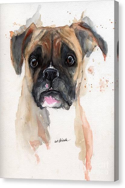 Boxer Dog Canvas Print - A Portrait Of A Boxer Dog by Angel Ciesniarska