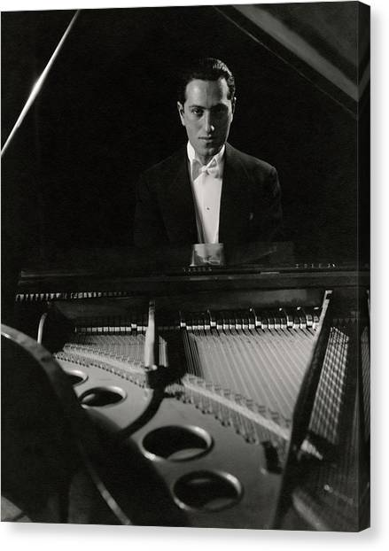 Electronic Instruments Canvas Print - A Portrait Of George Gershwin At A Piano by Edward Steichen