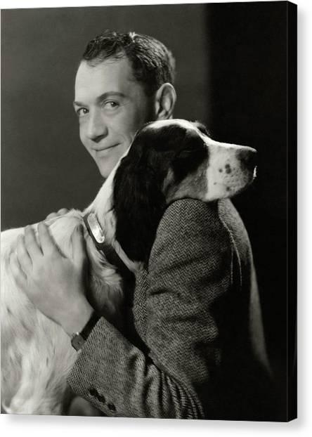 Cartoonist Canvas Print - A Portrait Of John Held Jr. Hugging A Dog by Nickolas Muray