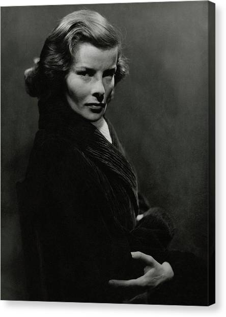 A Portrait Of Katharine Hepburn With Her Arms Canvas Print by Lusha Nelson