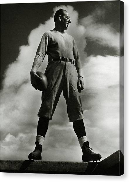 Columbia University Canvas Print - A Portrait Of Lou Little With A Football by Lusha Nelson