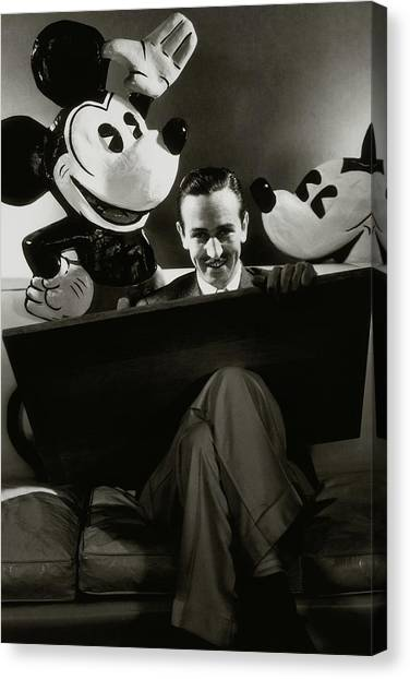 A Portrait Of Walt Disney With Mickey And Minnie Canvas Print