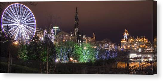 A Princes Street Gardens Christmas Canvas Print