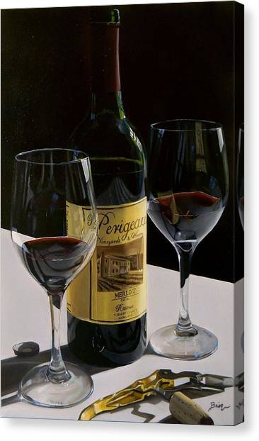 Wine Bottles Canvas Print - A Private Reserve by Brien Cole