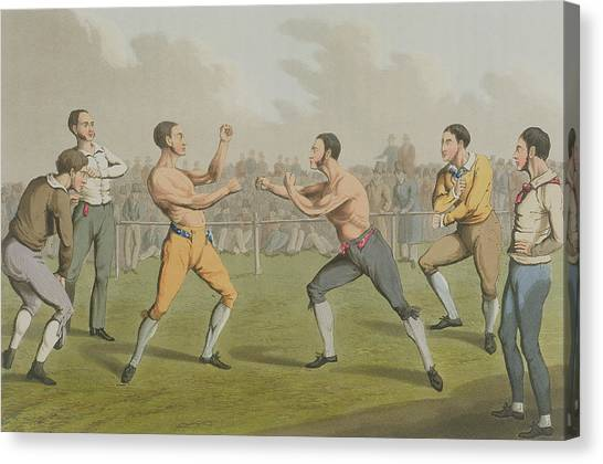 Mma Canvas Print - A Prize Fight Aquatinted By I Clark by Henry Thomas Alken