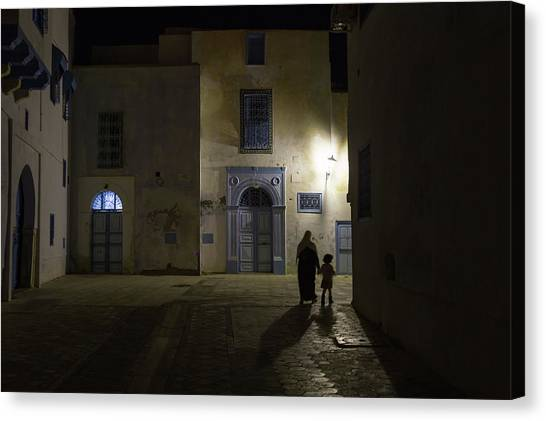 Street Lamp Canvas Print - A Quiet Evening In Kairouan by Rolando Paoletti