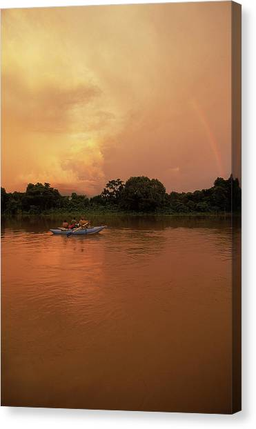 Congo River Canvas Print - A Rafting Group Travels Down The Chinko by Chris Anderson