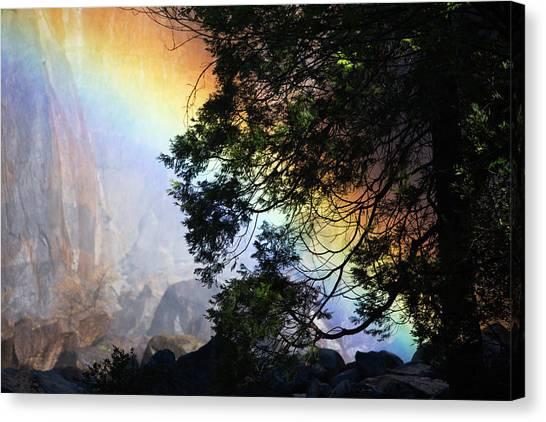 Yosemite Falls Canvas Print - A Rainbow Below Yosemite Falls by Marc Moritsch