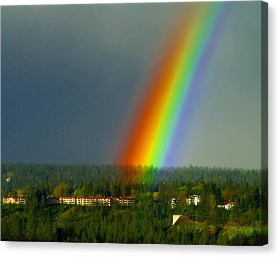 Canvas Print featuring the photograph A Rainbow Blessing Spokane by Ben Upham III
