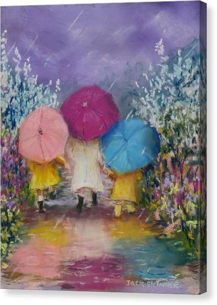 Canvas Print - A Rainy Day Stroll With Mom by Jack Skinner