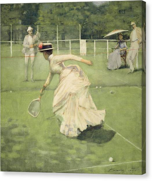 Tennis Canvas Print - A Rally, 1885 by Sir John Lavery