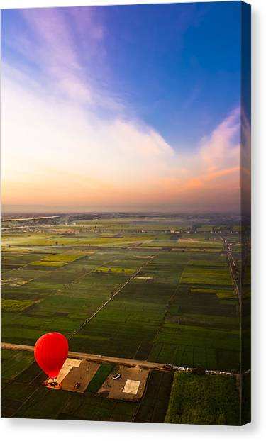 A Red Hot Air Balloon Landing In Egyptian Fields Canvas Print by Mark E Tisdale